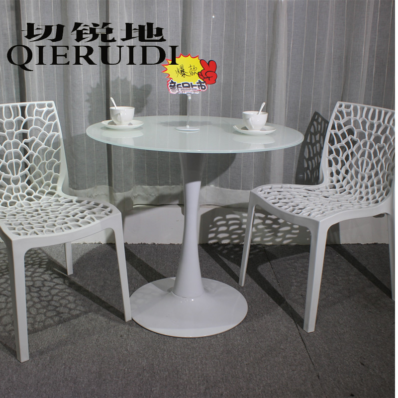 Get Quotations · Tulip Continental Tables Modern Minimalist Black And White  Tempered Glass Dining Table Dinette Combination Of Small