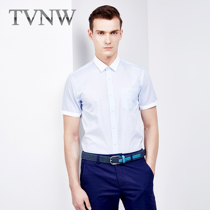 Tvnw new business casual men's 2016 youth short sleeve shirt slim solid color shirt bottoming shirt 0691