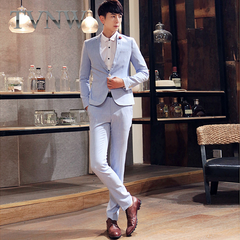 Tvnw new young casual solid color 2016 fashion slim suits wedding suits groom with lang 7852
