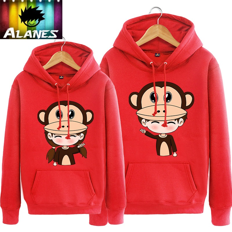 Twelve lunar new year of the spring and autumn mouth monkey hedging hooded sweater men sweater coat female couple new year natal red cap