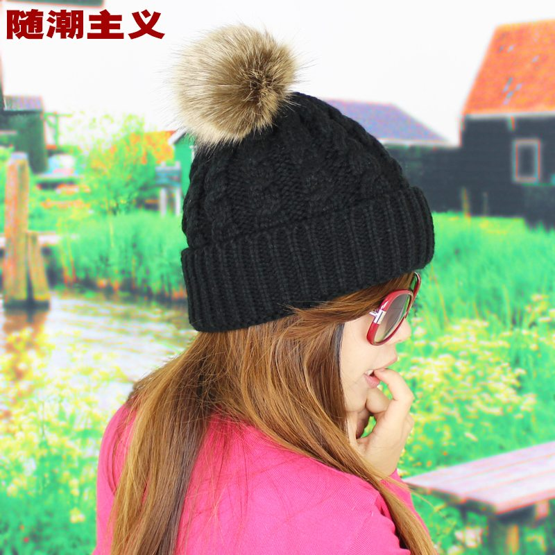 Twist hair ball knitted hat female autumn and winter wool hat female korean tidal winter hat female
