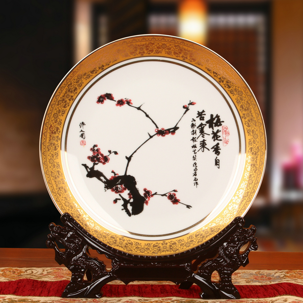 Tyrant gold plum jingdezhen ceramic decorative plate hanging plate faceplate modern home crafts ornaments