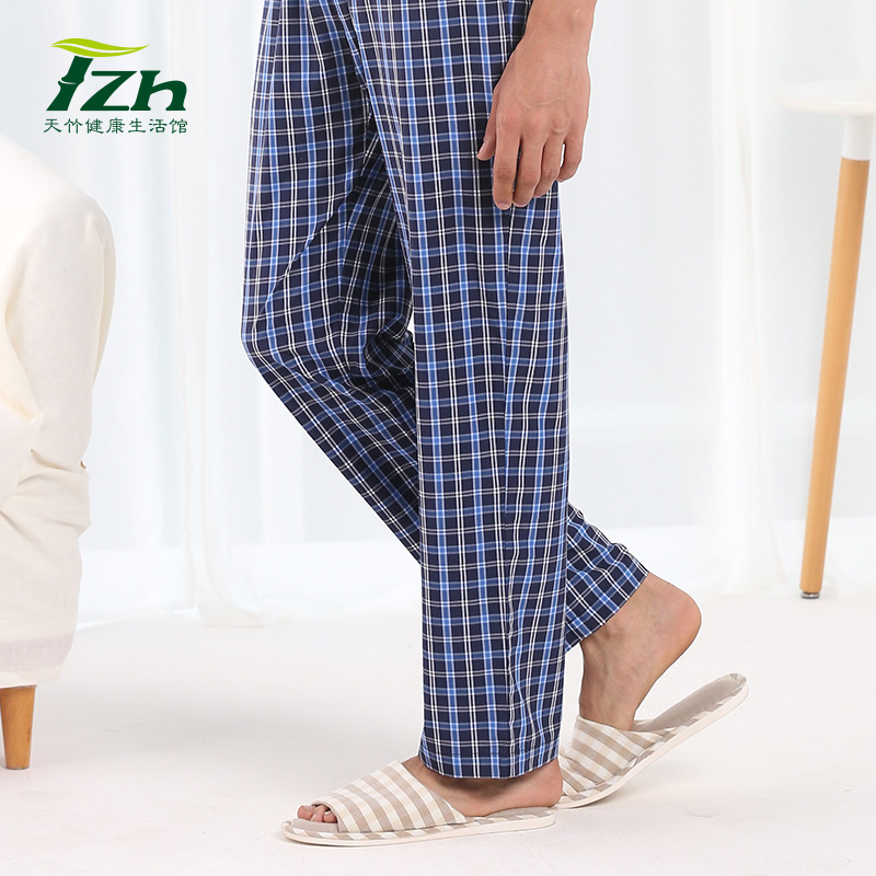 Tzh bamboo fiber male pajama pants at home pajama pants for men changchun autumn plaid pants loose big yards home