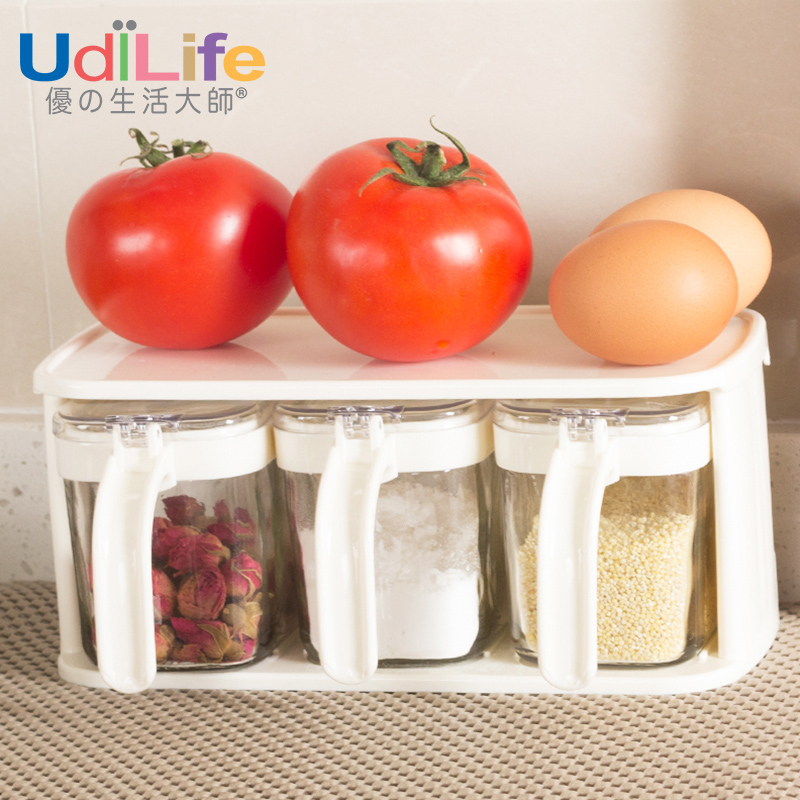 Udilife suits salt shaker glass spice jar pepper cruet kitchen supplies seasoning box set with a base