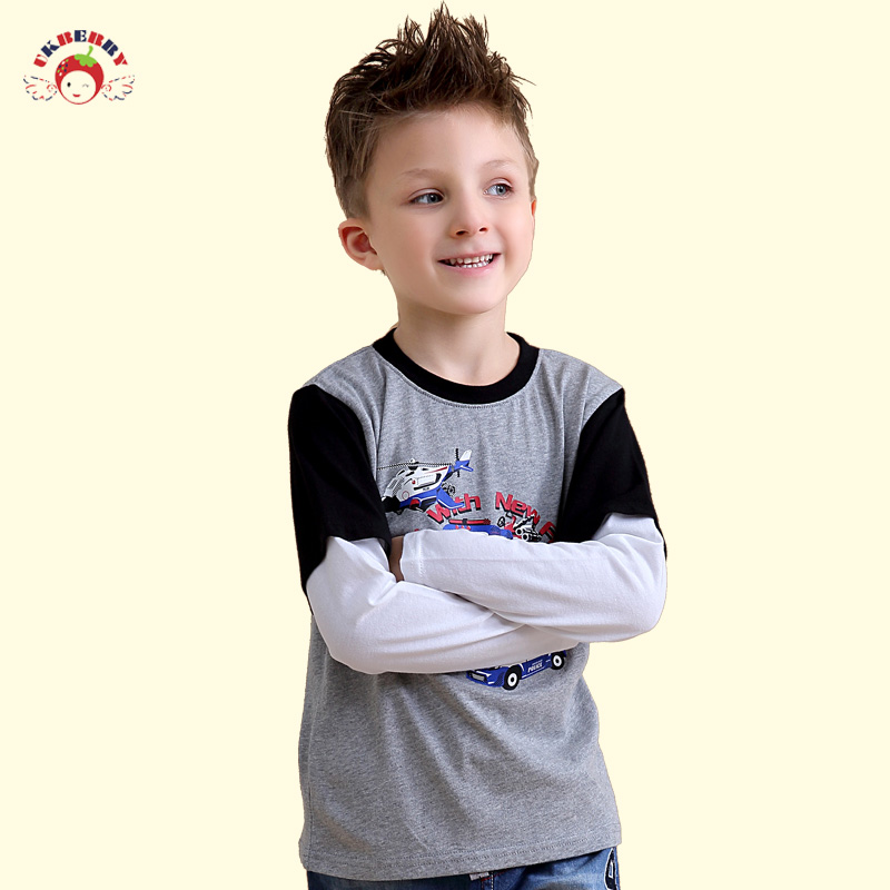 Ukberry kids boys spring models of child baby long sleeve cotton t-shirt fake two bottoming shirt round neck t-shirt