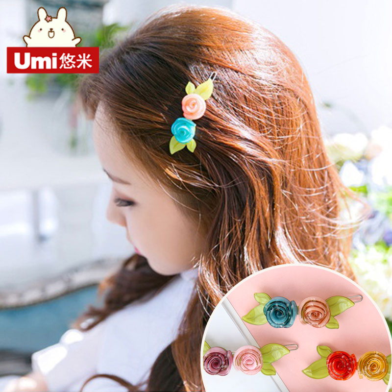 Umi korea jewelry rose flower hair clip hairpin jewelry elastic rope rubber band rope hair ring tousheng clip