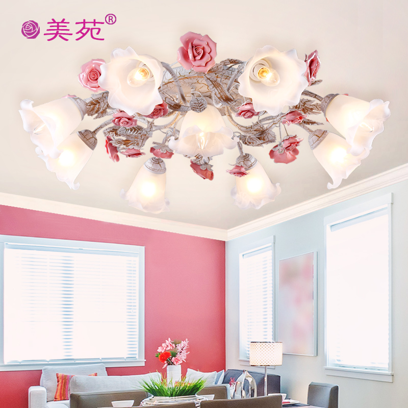 United states court of korean garden roses lamp led ceiling lamp wrought iron flower garden flowers and light living room lamp bedroom lamp