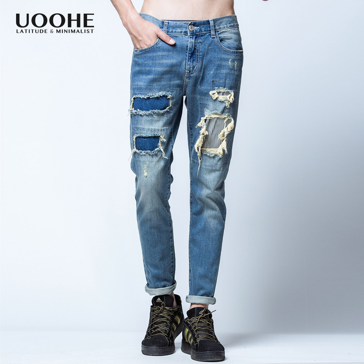 bdfcf9ca Get Quotations · Uoohe new winter korean slim straight jeans patch holes in  jeans male blue denim trousers feet