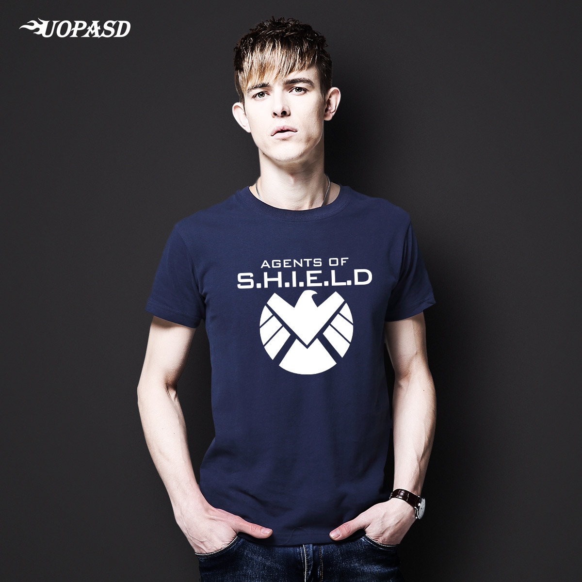 Uopasd captain america 2 s.h.i.e.l.d. agents avengers t-shirt shield simple cotton short sleeve tide male