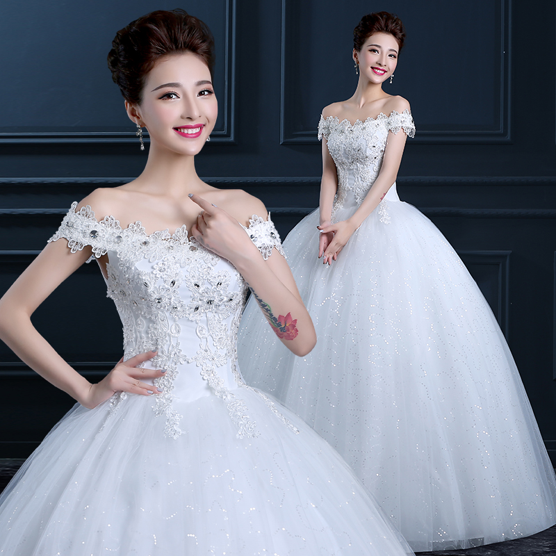 Upscale 2015 new wedding dress for pregnant women word shoulder wedding dress qi bride was thin white wedding dress tutu