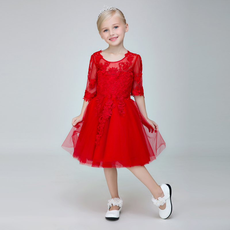 Upscale children's dress princess dress girls long sleeve red dress flower girl dress costumes moderator dress evening dress autumn
