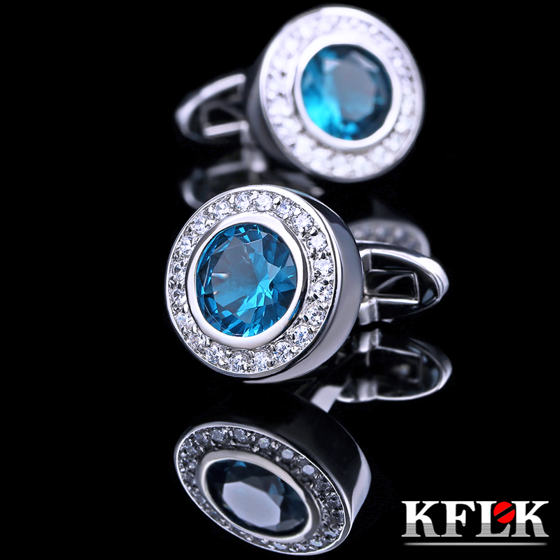 Upscale gift box kflk rhodium cufflinks french shirt cufflinks cufflinks men's shirts china luxury zircon cufflinks nail