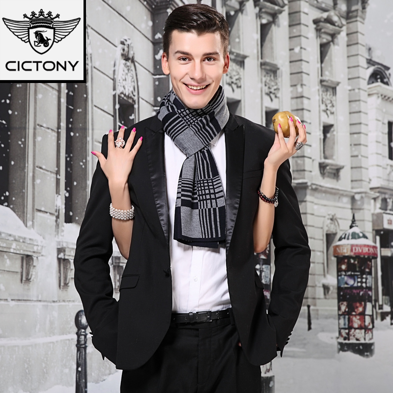 Upscale men's scarves wool scarf men scarves winter scarf plaid scarf thick scarf men gift box