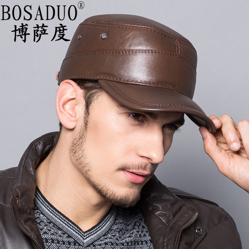 Upscale outdoor men's leather hat winter hat ear elderly θ0 army cap hat leather hat winter