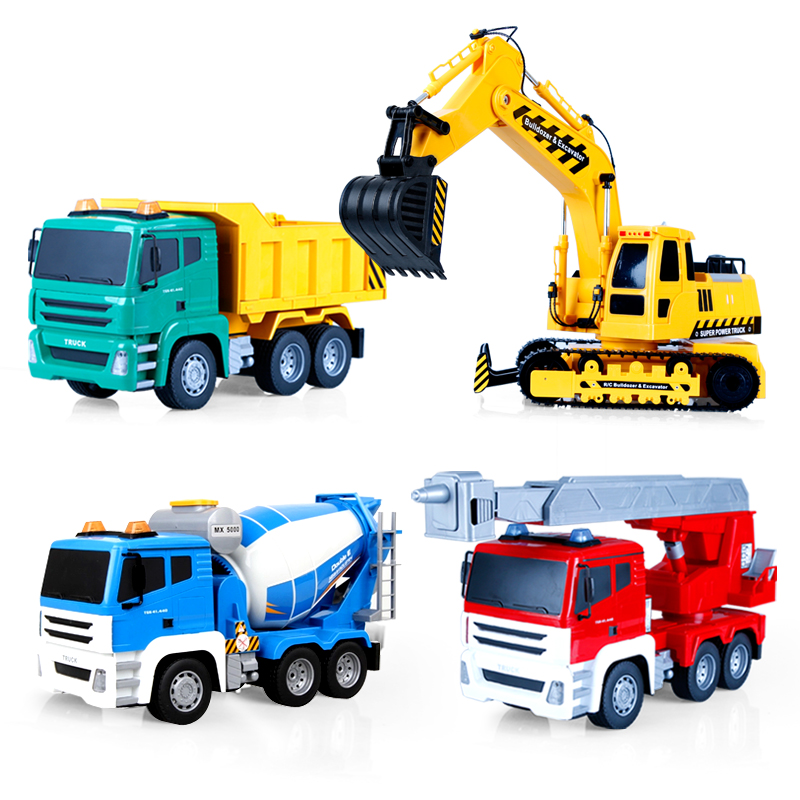 Us caused large remote control excavator excavator construction vehicles cement tanker truck crane excavator children toy car