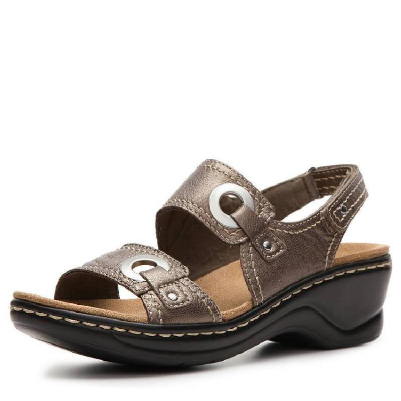 Us direct mail clarks/their music 314121 female thick crust metallic leather sandals free shipping