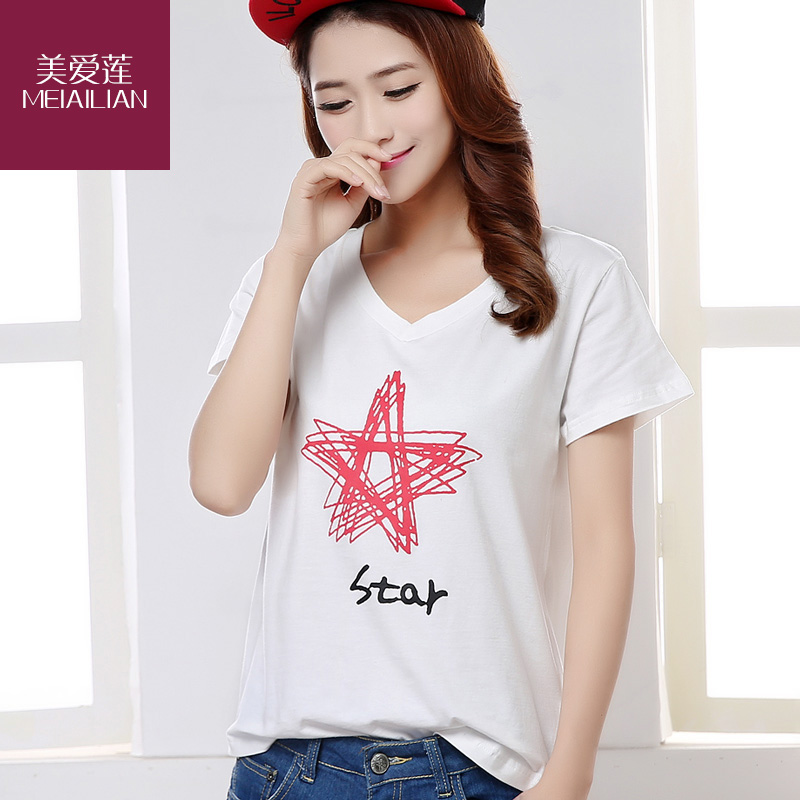 Us eleonora new spring and summer short sleeve cotton t-shirt women bottoming shirt korean fan large size women's korean version of t-shirt shirt tide