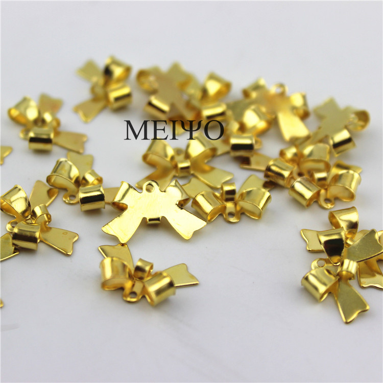 Us foreign diy jewelry accessories connect buckle iron glossy bow necklace earrings jewelry materials 1
