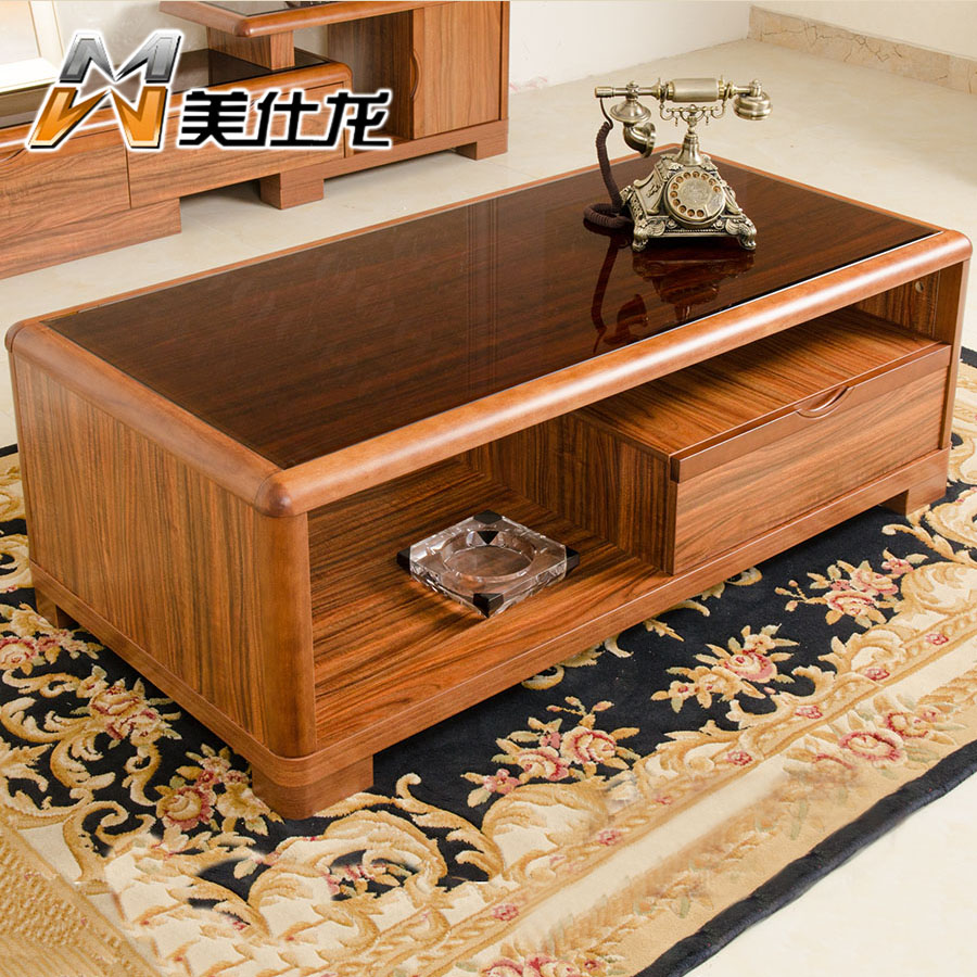 Us official dragon simple chinese kung fu tea ugyen wood color wood square coffee table round coffee table tv cabinet combination packages