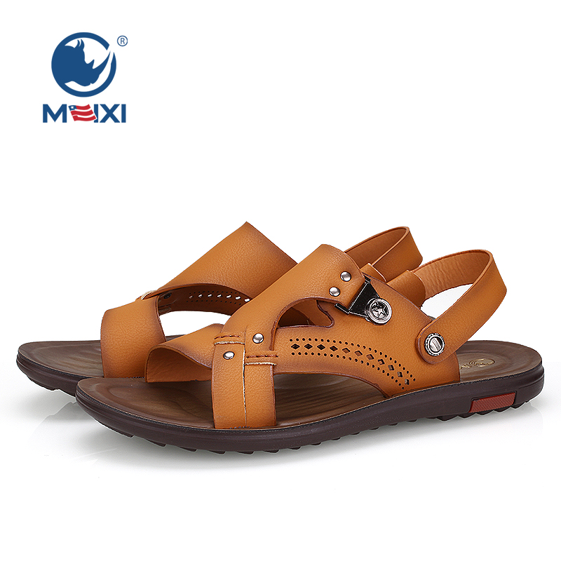 a97cf087c0e8ef Get Quotations · Us rhinoceros male beach sandals hollow breathable summer  new men s everyday casual nubuck leather flat with