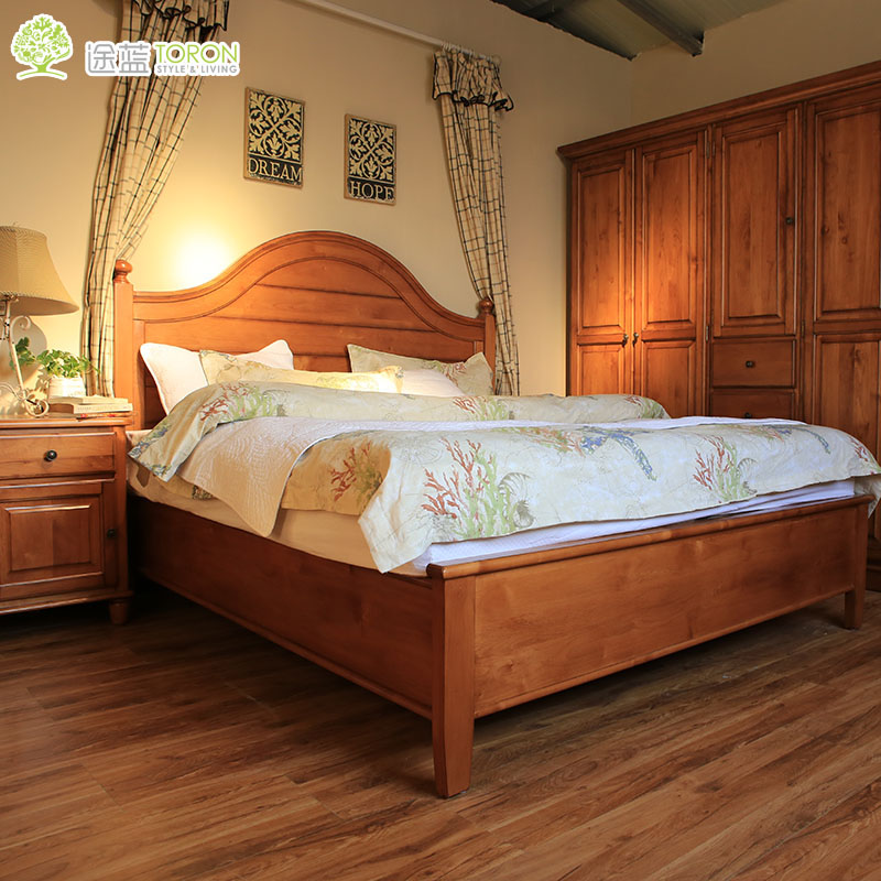 Uses blue all solid wood bed simple european american pastoral pure solid wood bed 1.8 m double pine bed can be customized