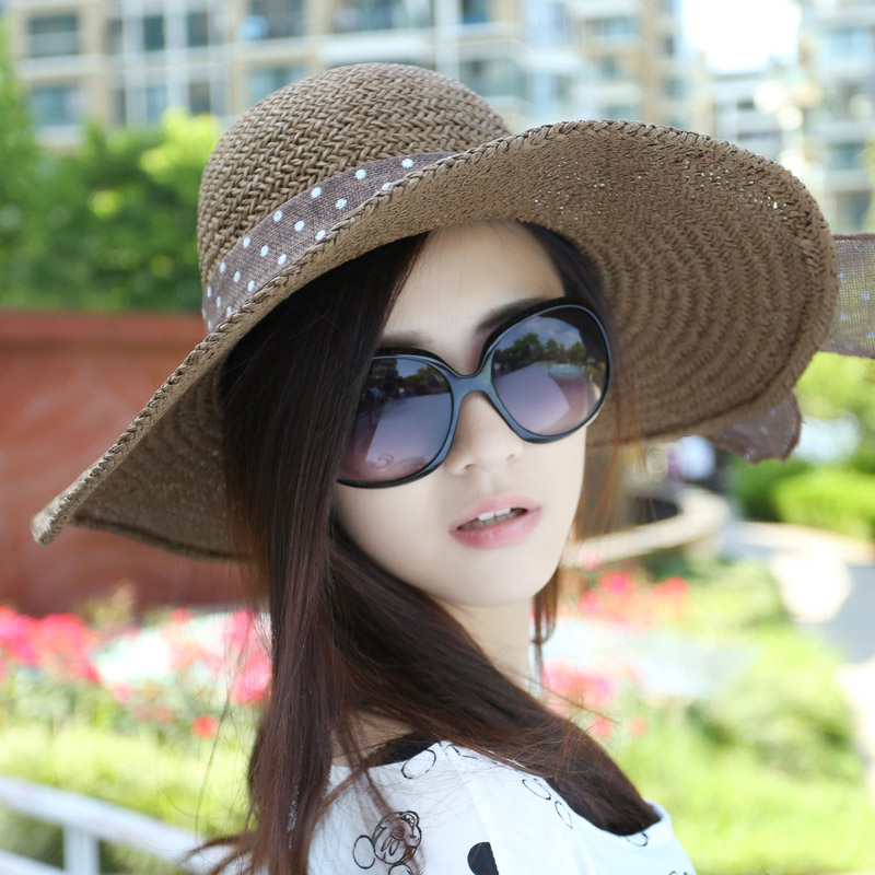 Uv sun hat korean wave foldable large brimmed straw hat summer sun hat female sun hat beach hat korean wave