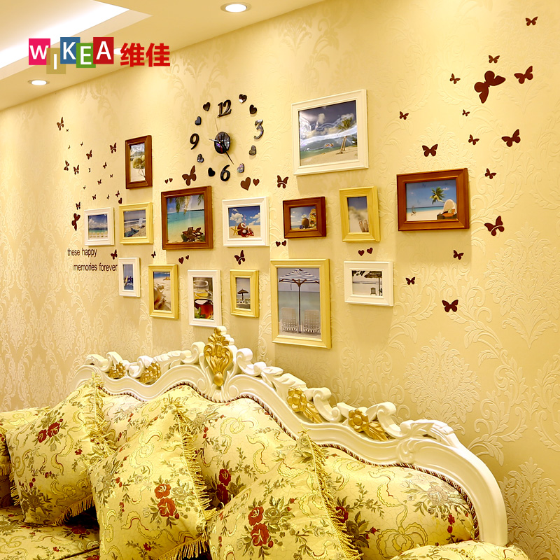 Vanguard wood frame wall photo wall sticker kit 15 frame combination photo wall photo frame wall decorative wall box company