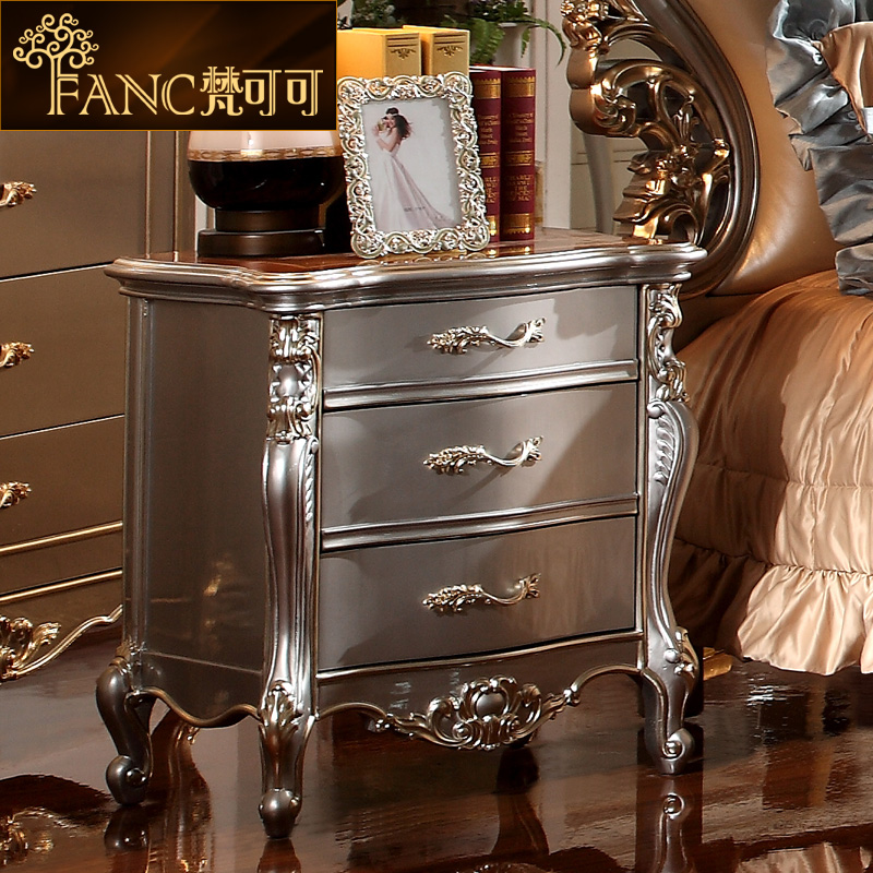 Vatican cocoa neoclassical european wood bedside cabinet retro paint bedroom furniture french bedside cabinet bedside cabinet lockers