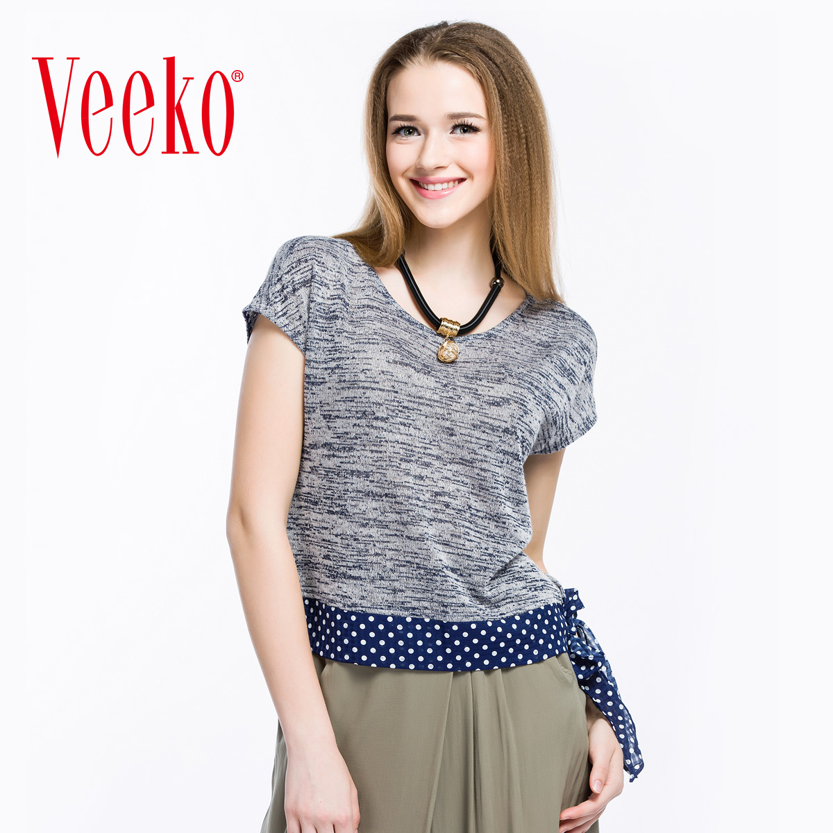 Veeko2016 casual fun summer new fashion straight stitching round neck short sleeve t-shirt t-shirt female summer thin