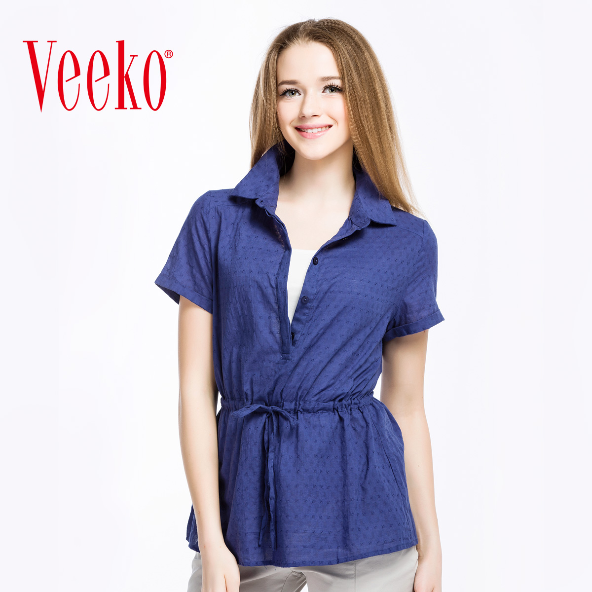 Veeko2016 summer new fashion casual loose cotton shirt collar short sleeve shirt t-shirt female summer thin