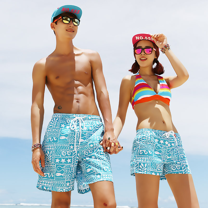 Vendis extreme beach lovers beach pants casual loose fifth swim trunks swimming trunks for men and women wicking shorts vacation blue