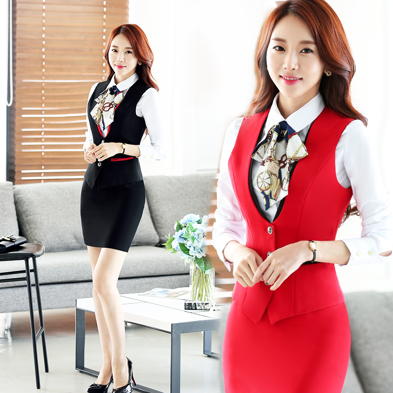 Vichy love autumn wear suits hotel uniforms suit vest female vest black skirt career