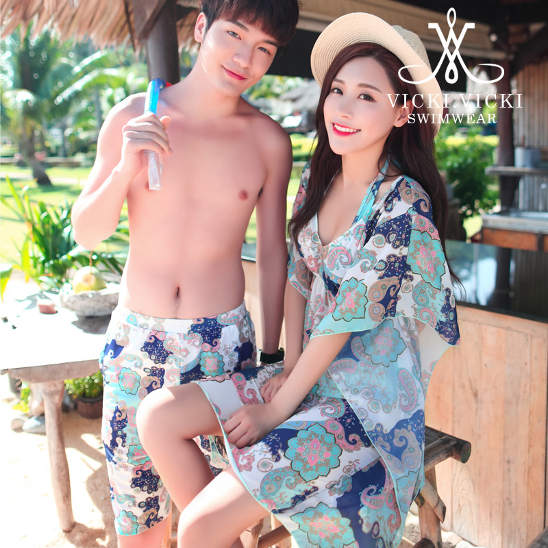 Vicki lovers swimsuit female steel prop gather small chest korea retro blouse bikini three sets of hot springs bathing suit