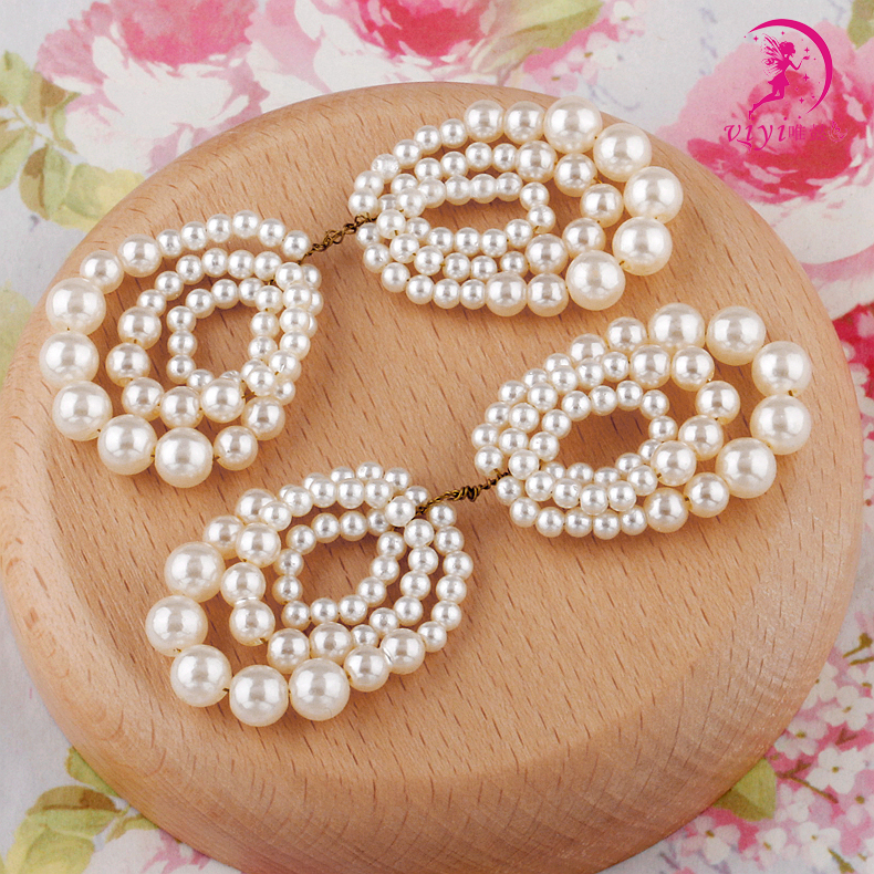 Viyi/wei yi handmade bow hair accessories diy jewelry accessories material semifinished beaded pearl bow