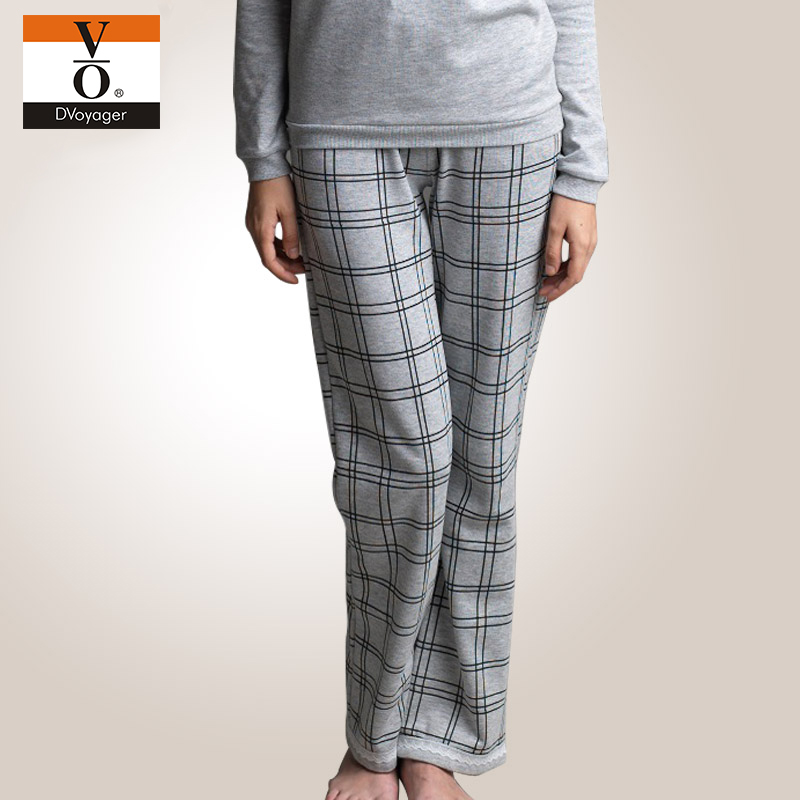Vo ms. plaid pajama pants loose pajama pants home warm winter home pants female 1348