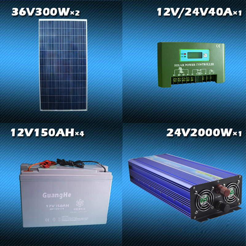 W photosynthetic solar power systems 2kw fridge cooker outdoor home computer fan power supply output