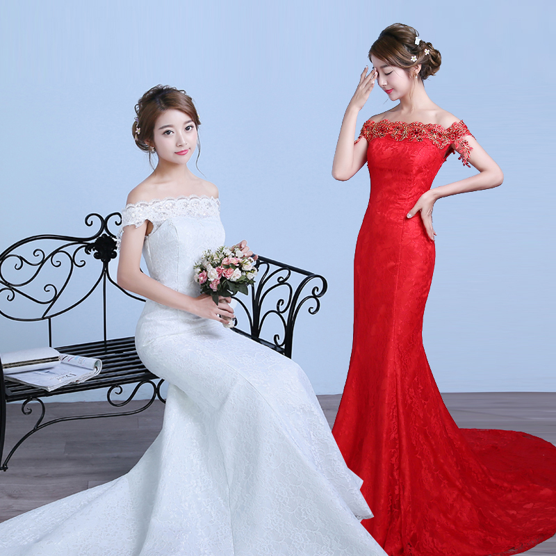 Waist fishtail wedding dress 2016 new word shoulder fishtail wedding dress big red evening dress clothes toast wine crooner