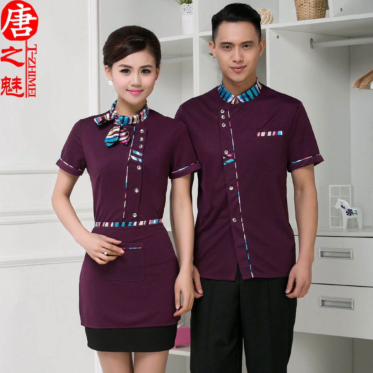 Waiter overalls summer hotel restaurant waiter overalls sleeved overalls restaurant waiter uniforms short sleeve
