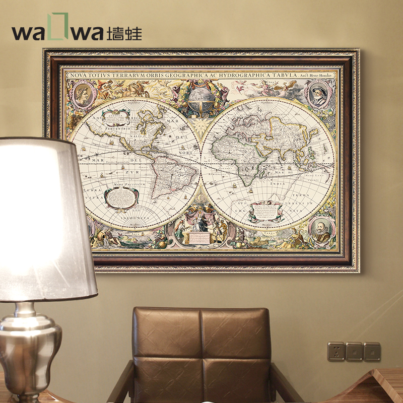Get Quotations · Wall Frog Retro World Map Of European Decorative Painting  The Living Room Background Wall Paintings Den