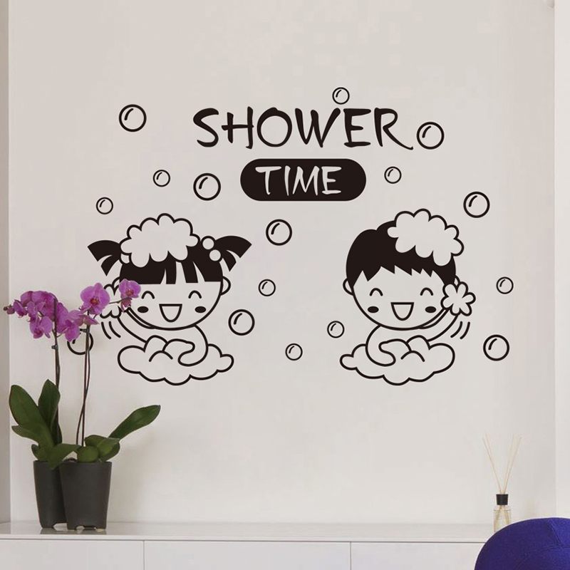 Wall stickers sticker boys and girls bathing bathroom tile bathroom washbasin wash waterproof cute cartoon couple stickers