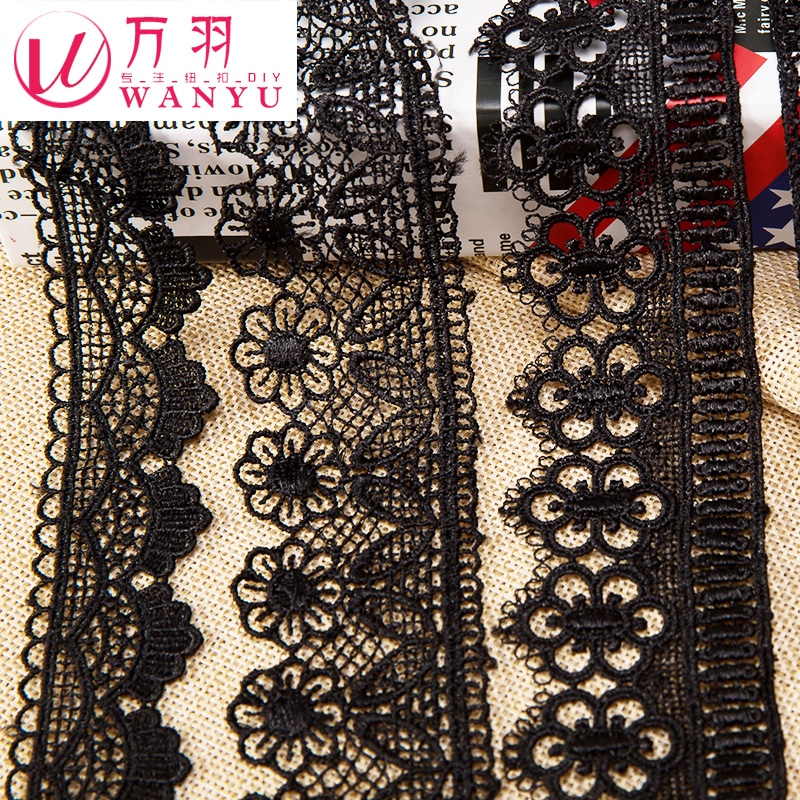 Wan yu black soluble lace embroidery lace wedding dress garment accessories handmade diy decorative cloth material