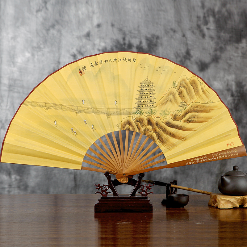 Wangxingji 9 inch painted silk silk chinese style silk fan male fan folding craft fan carved handle