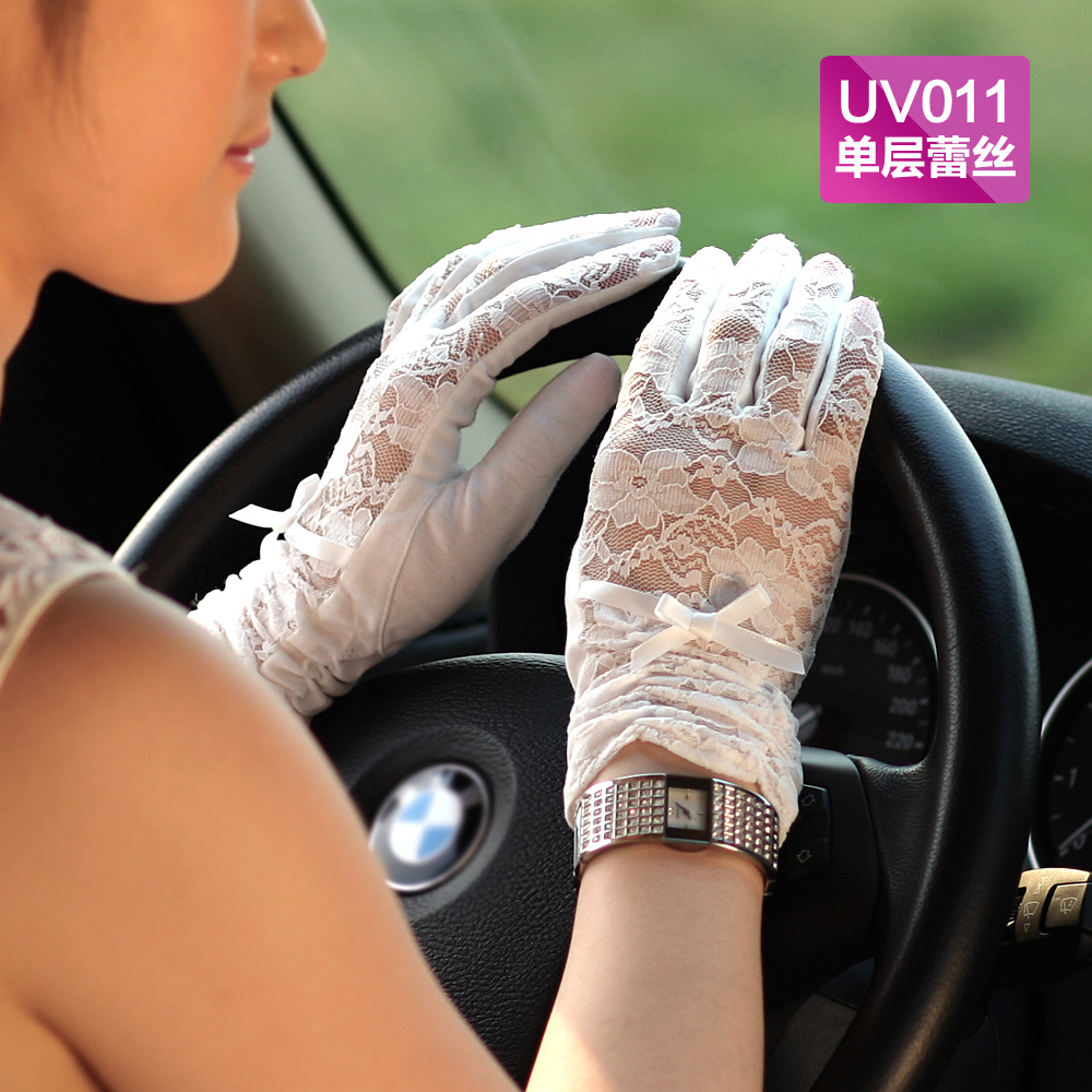 Warmen female summer short paragraph slim sexy lace gloves uv sunscreen driving gloves multicolor