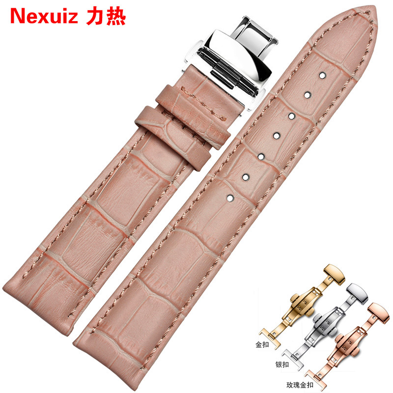 Watch with accessories female pink butterfly buckle leather strap bracelet applicable titus | fiyta table 16 | 18mm