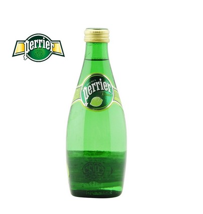 Water imported from france in paris Perrier330ml lemon/lime flavored carbonated mineral water in glass bottles