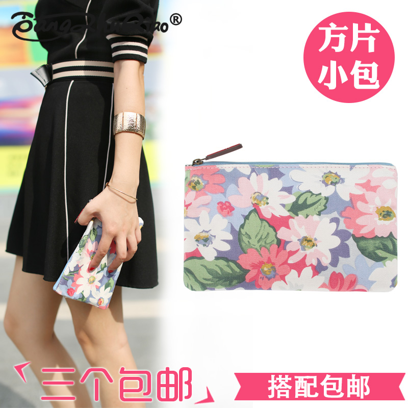 Waterproof canvas printing small fresh floral square piece of portable hand bag cosmetic bag zero purse mini packet female bag