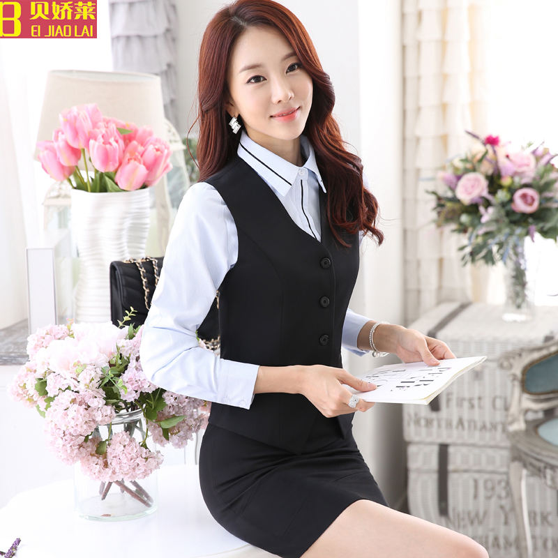 Wear female vest vest spring and autumn suit skirt ol beauty salon hotel reception uniforms stewardess uniforms dress