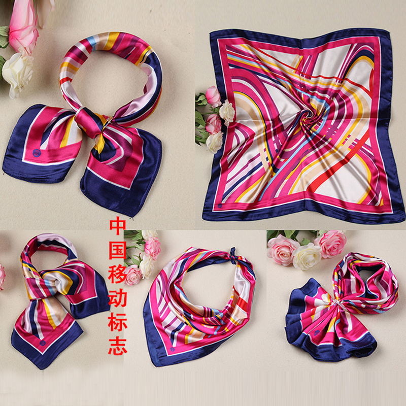 Wear scarves stewardess mobile banking uniforms decorated female variety silk printed scarves small square scarf