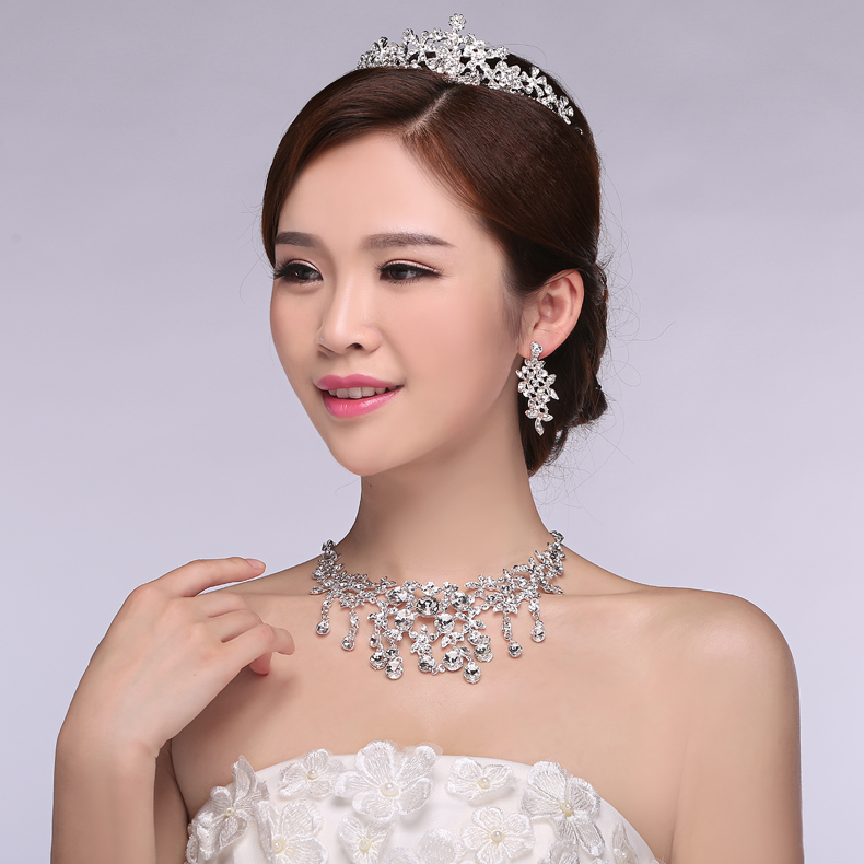 Wedding accessories bridal tiara crown three sets of wedding wedding ceremony jewelry pearl necklace korean suit