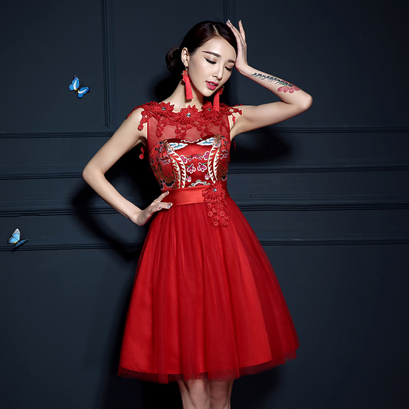 Wedding dress 2015 new wedding dress the bride toast clothing evening dress short paragraph retro red summer dress